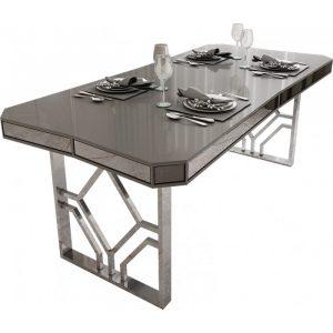 table-de-salle-a-manger-design-plateau-en-bois-100-laque-gris-clair-avec-des-miroirs-fume-sur-les-contours-et-un-pietement-en-acier-chrome-argente-195×91-5cm-collection-lexus-31